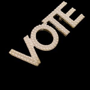 Double pearl VOTE pin/brooch